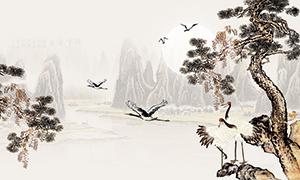 中国风水墨画广告背景设计PSD素材