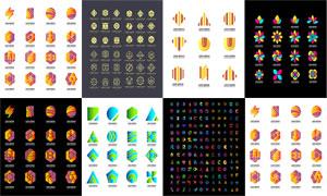 炫彩几何图案等元素的标志矢量素材