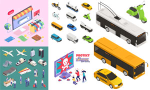 机场安检与交通工具等创意矢量素材