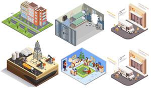 物流运输与建筑等创意设计矢量素材
