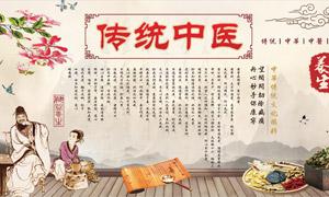 傳統中醫文化宣傳展板矢量素材
