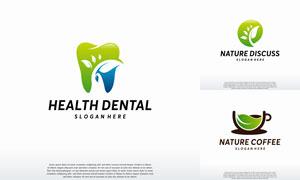 绿叶牙齿与咖啡等标志创意矢量素材