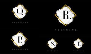 金色边框墨迹元素字母矢量素材集V03