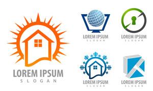 房屋与地球等元素标志创意矢量素材