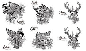 小鸟与猫咪等线描动物设计矢量素材