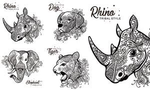 黑白花紋圖案裝飾動物設計矢量素材