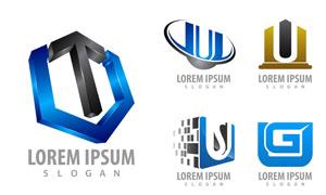 立体抽象图案标志设计创意矢量素材