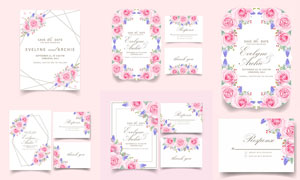 粉紅色的玫瑰花朵裝飾請柬矢量素材
