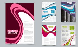 多彩曲線元素畫冊頁面設計矢量素材