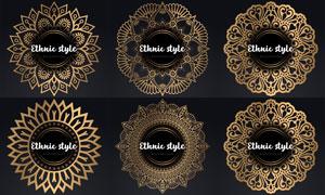 圆形中心对称花纹图案边框矢量素材
