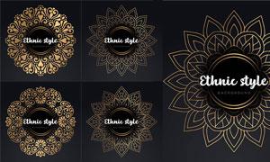 圆形与金色的花纹边框创意矢量素材