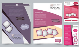 紫色與紅色的畫冊頁面設計矢量素材