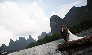 山水自然风光婚纱人物摄影原片素材