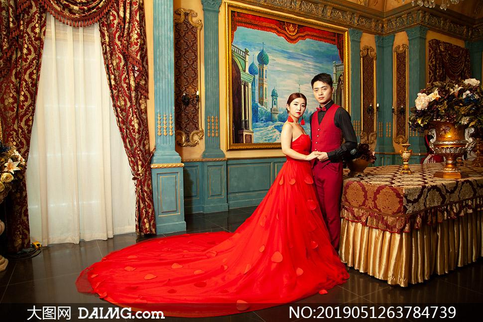 欧式古典内景婚纱人物摄影原片素材
