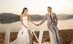 湖光山色美景婚纱人物摄影原片素材