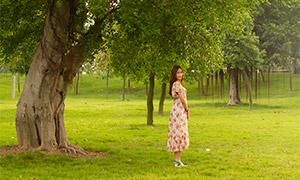 站在大树下的长裙美女写真摄影原片