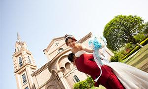 欧式建筑物外景婚纱照摄影原片素材