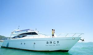 游艇上的人物外景婚纱摄影原片素材