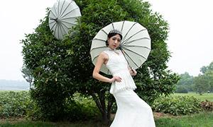 树木前的撑伞美女婚纱摄影原片素材