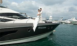蓝天白云游艇上的婚纱人物摄影原片