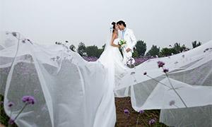 被风吹起来的婚纱恋人摄影原片素材