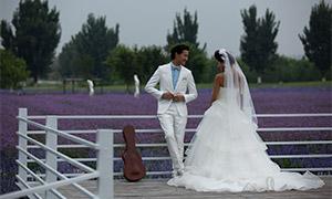 花海栏杆边的恋人婚纱摄影原片素材