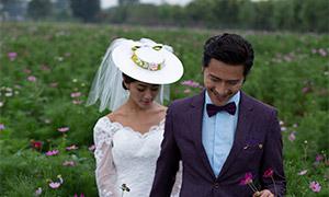 一对新人外景婚纱摄影主题原片素材