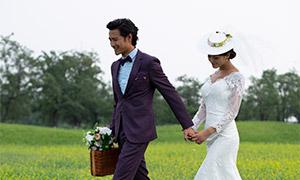油菜花地外景婚纱摄影主题原片素材