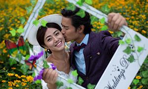 鲜花相框中的恋人婚纱摄影主题原片