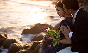 黄昏海岸外景婚纱摄影高清原片素材
