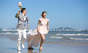 海上浪花沙滩外景婚纱摄影高清原片