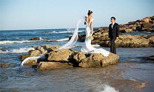 大海礁石浪花风景婚纱摄影高清原片