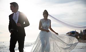 海面浪花美景婚纱摄影高清原片素材