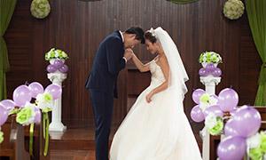 教堂婚礼布置婚纱摄影高清原片素材