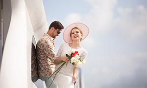 蓝天白云欧美人物婚纱摄影高清原片