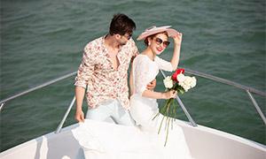 海上游艇外景婚纱写真摄影原片素材