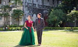 草坪上的开心恋人婚纱摄影高清原片