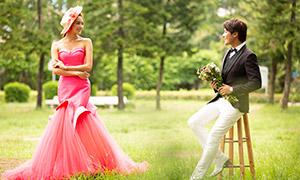 树林草地外景婚纱摄影高清原片素材