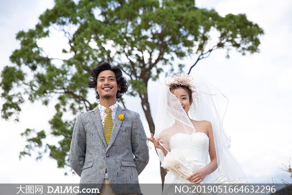 大树风光外景婚纱主题摄影原片素材