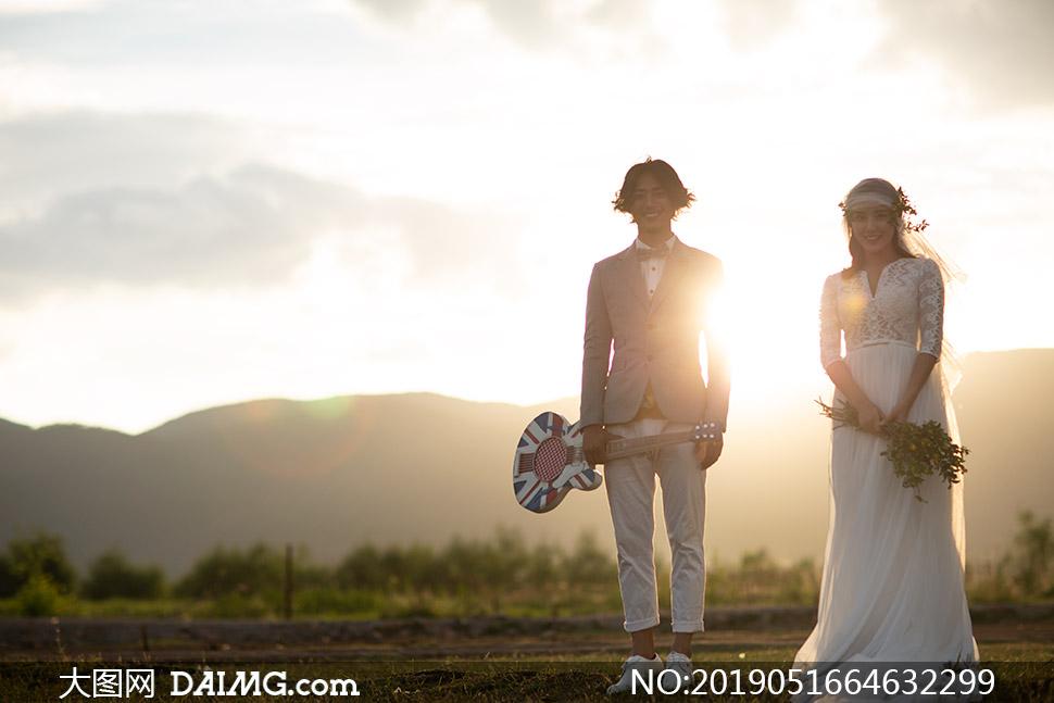 天空云彩远山外景婚纱摄影原片素材