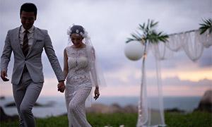 手拉着手的美女帅哥婚纱照摄影原片