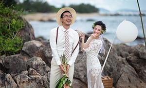 海边岩石外景人物婚纱摄影高清原片