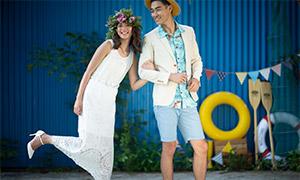 热带风情装扮人物情侣摄影原片素材