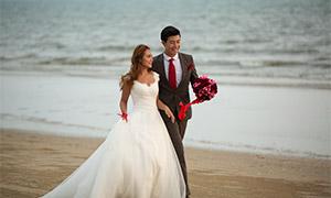 海边?#31243;?#22806;景风光婚纱摄影原片素材