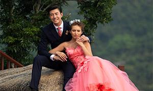 树木岩石风光外景婚纱摄影原片素材