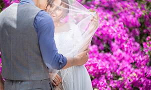 鲜艳花丛前的美女婚纱主题摄影原片