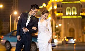 夜晚街景风光人物婚纱摄影原片素材