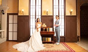 室内内景韩式风格婚纱摄影原片素材