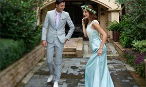 树丛绿化外景婚纱人物摄影原片素材