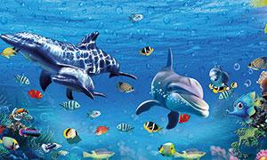 海洋海底世界廣告背景設計PSD素材